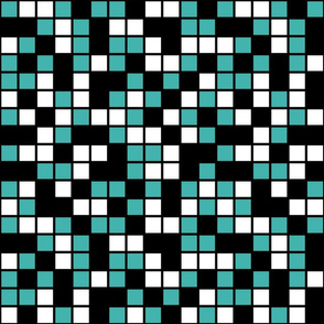 Large Mosaic Squares in Black, Verdigris, and White