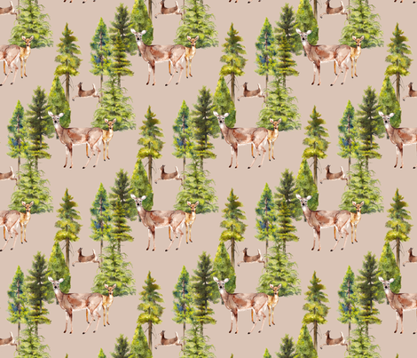 doe and fawn watercolor on sand beige fabric by madeinskandia on Spoonflower - custom fabric