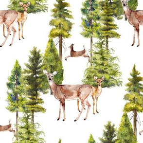 doe with fawn watercolor print on white