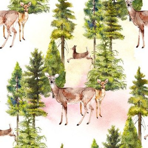 doe with fawn watercolor print with wash on white