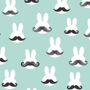 mr. bunny - dark mint - mustache rabbits easter fabric