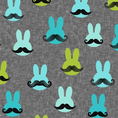 mr. bunny - multi on grey fabric by littlearrowdesign on Spoonflower - custom fabric