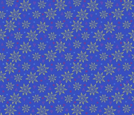 Summer Sun (blue) fabric by robyriker on Spoonflower - custom fabric