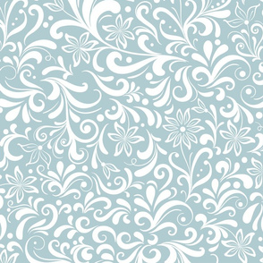 Interwoven decorative white pattern on a grey background.