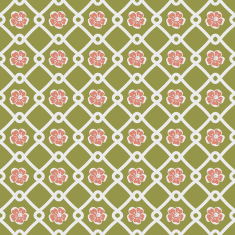 SF_Floral_Geometry_olives_white fabric by irizor on Spoonflower - custom fabric