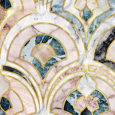 Marble Art Deco Tiles in Soft Pastels large scale version fabric by micklyn on Spoonflower - custom fabric