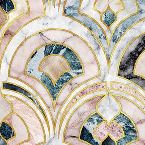 Marble Art Deco Tiles in Soft Pastels large scale version