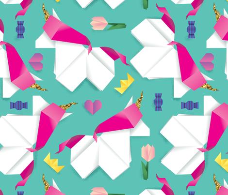 origami unicorn fabric by dramacatz on Spoonflower - custom fabric