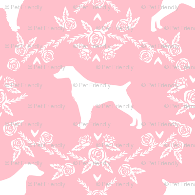 brittany spaniel floral silhouette dog breed fabric pink
