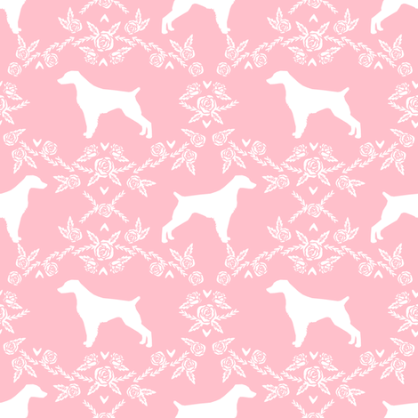 brittany spaniel floral silhouette dog breed fabric pink fabric by petfriendly on Spoonflower - custom fabric