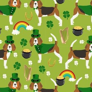 beagle leprechaun st. patrick's day dog breed fabric green