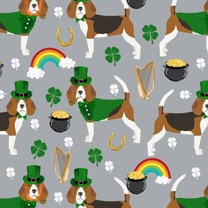 beagle leprechaun st. patrick's day dog breed fabric grey