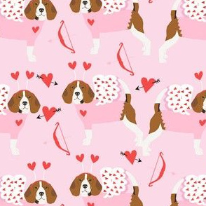 Beagle love bug valentines day dog breed fabric pink