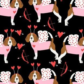 Beagle love bug valentines day dog breed fabric black
