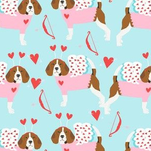 Beagle love bug valentines day dog breed fabric blue