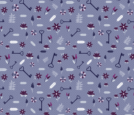 keys and flowers violet fabric by colorofmagic on Spoonflower - custom fabric