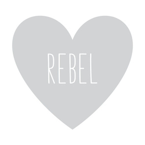 rebel love heart light grey » plush + pillows // fat quarter