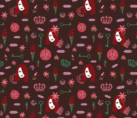 persephone dark red fabric by colorofmagic on Spoonflower - custom fabric
