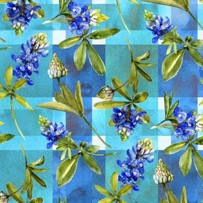bluebonnet watercolor on blue madras plaid