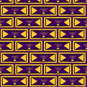 Golden Menorah purple and gold 3x6