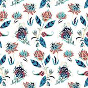 Blue - red floral