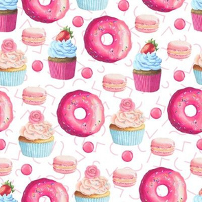 Pink Donuts Cupcakes & Macaroon Cookies - Birthday Party Girls