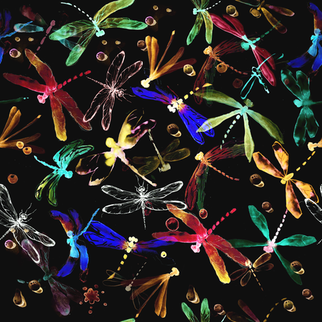 Neon dragonflies on the black fabric by magic_pencil on Spoonflower - custom fabric