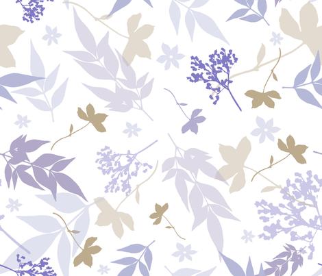 botanical smokey blue garden fabric by mypetalpress on Spoonflower - custom fabric