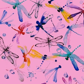 Dragonfly pattern on pink