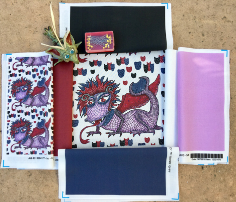 limited palette winged dragon, large scale, red navy blue violet purple lavender orchid lilac white black