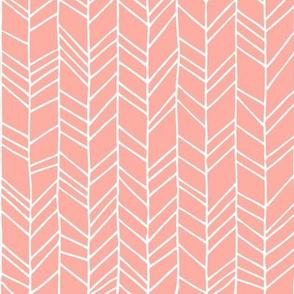 Peach Crazy Chevron Herringbone Hand Drawn Geometric Pattern GingerLous