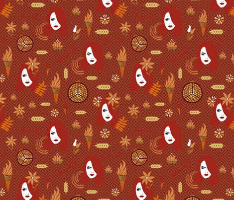 persephone rust fabric by colorofmagic on Spoonflower - custom fabric