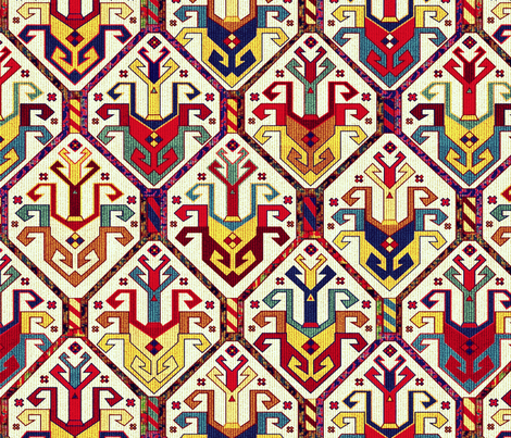 KILIM Fabric in white fabric by chicca_besso on Spoonflower - custom fabric