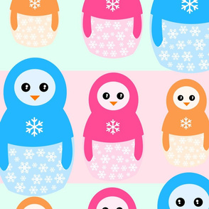 Winter matrioshka candy penguins pattern