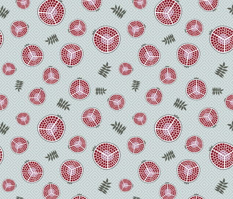 pomegranates bright green fabric by colorofmagic on Spoonflower - custom fabric