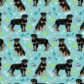 rottweiler dog fabric - dogs and toys - blue (smaller)