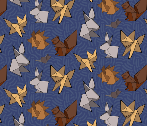 woodland origami fabric by groundfeather_studio on Spoonflower - custom fabric