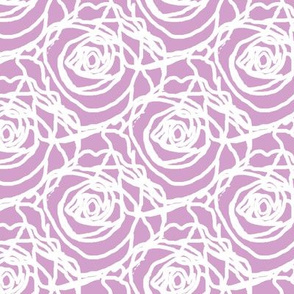 Scribbled Roses (white on #d3a0cc)