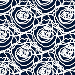 Scribbled Roses (white on #031838)