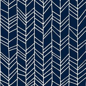 Navy Crazy Chevron Herringbone Hand Drawn Geometric Pattern GingerLous