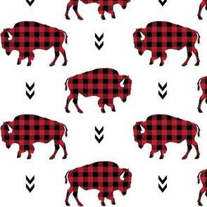 Bison - Buffalo Plaid Red + Black Tribal Baby Nursery Ginger