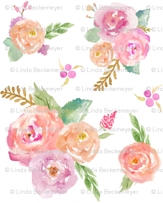 Watercolor Garden - Pink Peach Lavender Floral Blooms Baby Nursery Girls GingerLous (TINY) C