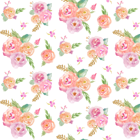 Watercolor Garden - Pink Peach Lavender Floral Blooms Baby Nursery Girls GingerLous (TINY) C fabric by gingerlous on Spoonflower - custom fabric