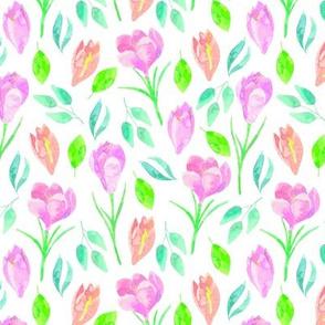 Spring Crocus - Floral Flowers Garden Blooms Baby Girl Nursery GingerLous