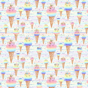 unicorn icecream stripes
