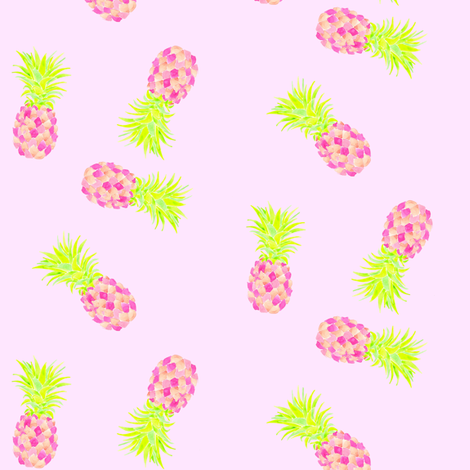 pink pineapple custom move fabric by erinanne on Spoonflower - custom fabric