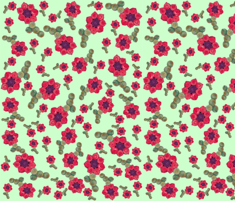 Tumbling Quillie Flowers Green fabric by accidental_rugmaker on Spoonflower - custom fabric