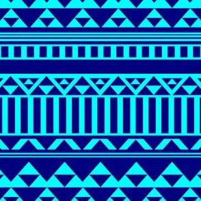Mountain Stripe Kilim in Electric Aqua Blue + Navy