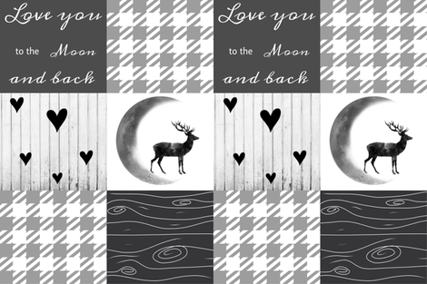 Love you to the moon - gray dreamer fabric by moonsheets on Spoonflower - custom fabric
