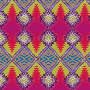 Diamond Kilim Tribal Rug Red with Goldenrod